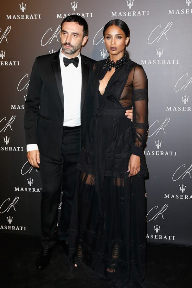 SINGER CIARA, WITH RICCARDO TISCI, IN A GIVENCHY BY RICCARDO TISCI SPRING-SUMMER 2015 OUTFIT TO THE CR FASHION BOOK ISSUE 5 LAUNCH PARTY HOSTED BY CARINE ROITFELD & STEPHEN GAN