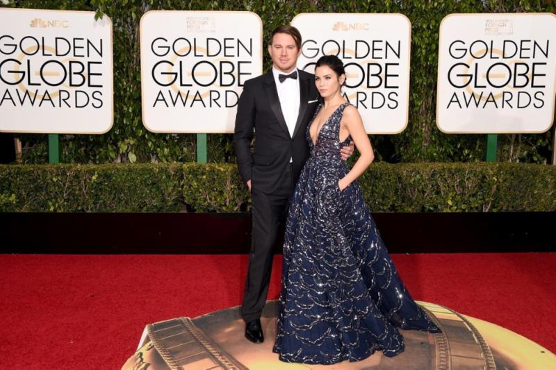 """Hollywood's favorite couple Channing Tatum and Jenna Dewan Tatum looked like the perfect match on the red carpet at the 73rd Annual Golden Globe Awards on Jan. 10, 2016. Jenna, who donned a stunning navy embellished Zuhair Murad Couture dress, supported her husband whose movie """"The Hateful Eight"""" has been nominated for three awards."""