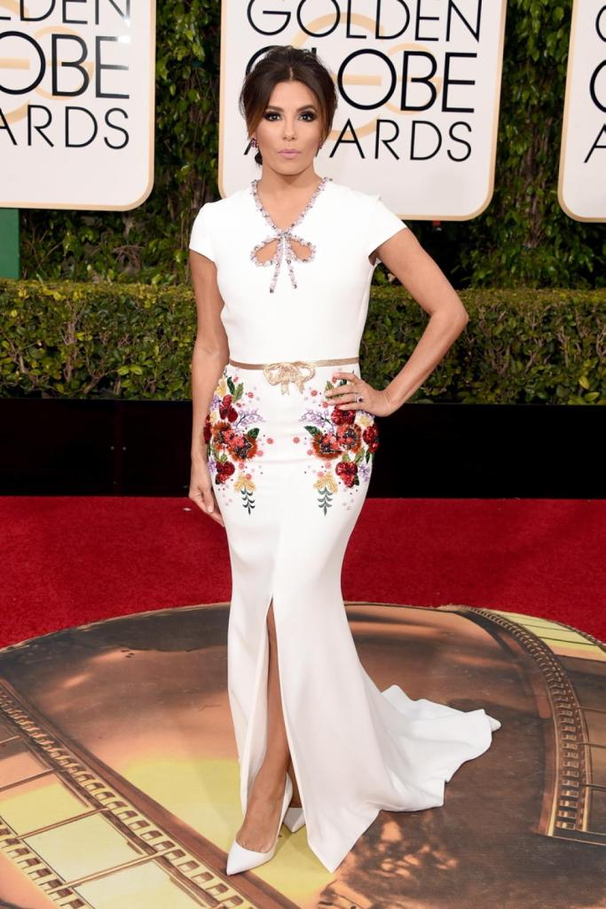 """""""Telenovela"""" star Eva Longoria, who is set to present at the 2016 Golden Globes, looked absolutely stunning white floral embellished gown at the 73rd annual event on Jan. 10, 2016."""