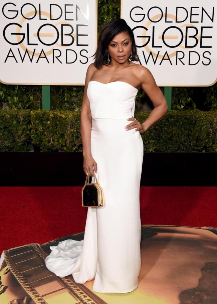 """Actress Taraji P. Henson worked it on the red carpet in a strapless Stella McCartney gown. The 45-year-old """"Empire"""" star is nominated in the Best Actress in a TV Series - Drama category."""