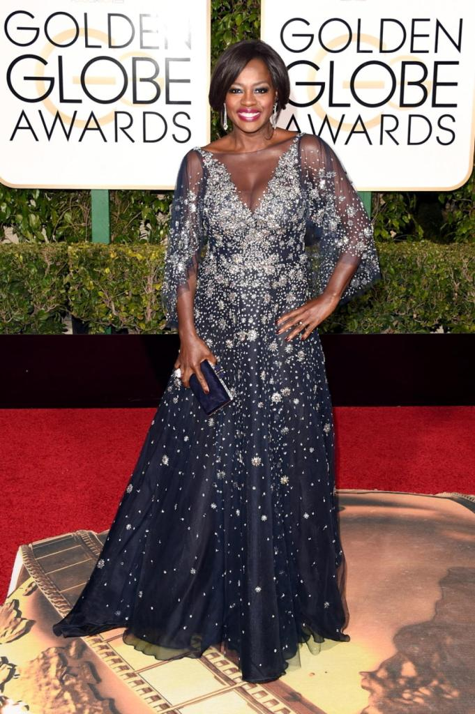 """Actress Viola Davis shined the brightest in a stunning sparkly Marchesa gown on the red carpet at the 73rd Annual Golden Globe Awards on Jan. 10, 2016. The 50-year-old actress is nominated for her work in """"How to Get Away with Murder."""""""