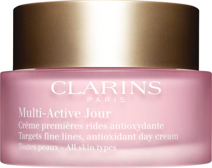 Clarins, Multi-Active Jour : Un soin qui atténu visiblement les premières rides, booste l'éclat, hydrate et prolonge la jeunesse de votre peau. (Pas encore testé du tout, mais d'après les dires la crème est bien).
