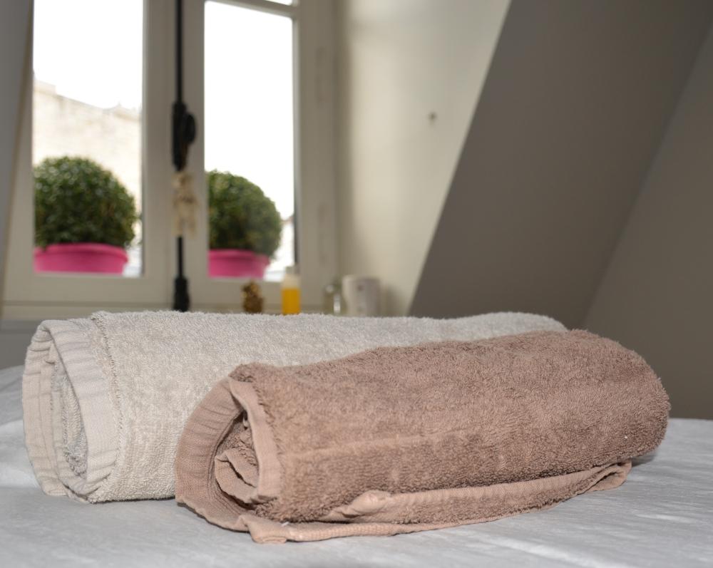 Les serviettes qui serviront à couvrir l'ensemble de mon corps pour plus de chaleur.